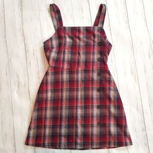 WILD FABLE Plaid Pinafore Jumper Flannel Dress Sma